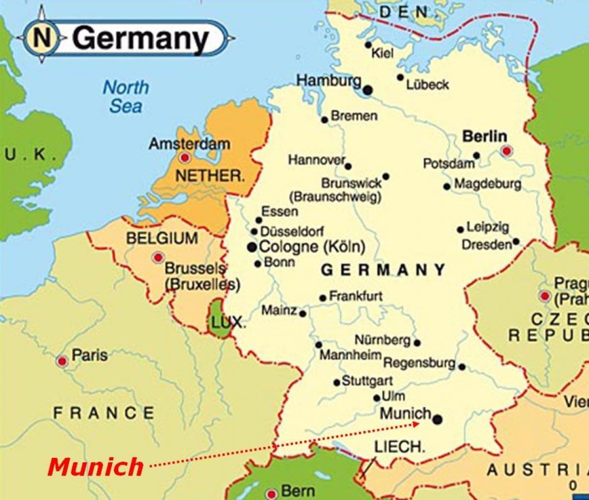 Monachium Mapa Europy Mapa Monachium Europie Bawaria Niemcy